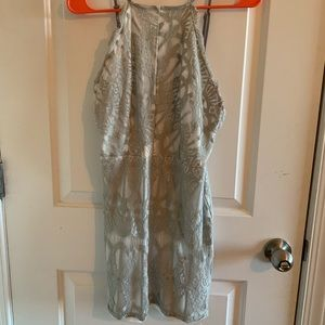 Grey lace backless dress